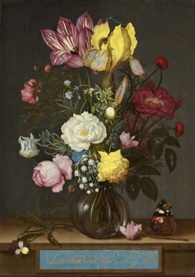 Bosschaert, Ambrosius: Bouquet of Flowers in a Glass Vase. Fine Art Print/Poster. Sizes: A4/A3/A2/A1 (0056)